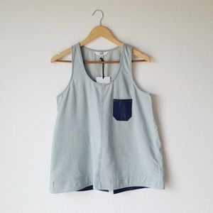 NWT Jack by BB Dakota Miro Chambray Pocket Tank M